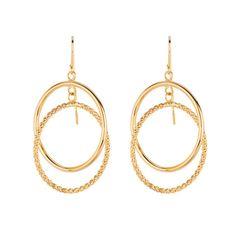 Ebay NissoniJewelry presents - 14K Yellow Gold Shiny Diamond Cut Double Ring Freeform Drop Earrings    Model Number:ER1049    http://www.ebay.com/itm/14K-Yellow-Gold-Shiny-Diamond-Cut-Double-Ring-Freeform-Drop-Earrings/221630570129