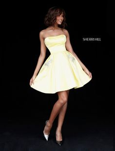 7f21895e55a 2017 Sherri Hill 51390 Yellow Strapless A-Line Beaded Pockets Short Satin  Party Dresses