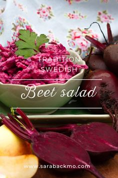 This recipe comes from one of my readers, Maj-Britt Lind. Beet salad is something we traditionally eat at Christmas here in Sweden, but you can have it on many other occasions too of course. It's a great side dish to meat or poultry, or any vegetarian meal too for that matter. Try it!