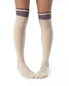 Made in the USA_socks Emma- Organic Cotton Cable Knit Over the Knee Socks by Zkano - $16.00