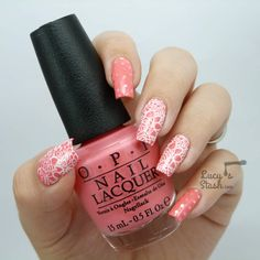Stamped lace nail art & glitter placement - Lucys Stash: MoYou Bridal Collection 07