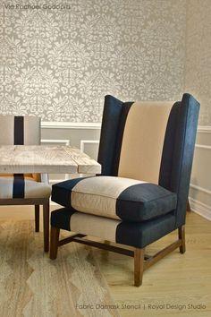 antoinette damask wall stencil zuhause wohnzimmer und m bel. Black Bedroom Furniture Sets. Home Design Ideas