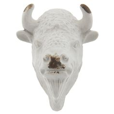 White Metal Bison Head Knob