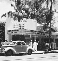 """Waikiki Theater 1940s.....Marquee Notes: """"Lady in the Dark"""" was released in February, 1944. The coming attraction, """"Girl Crazy,"""" was released in November, 1943. Hawaii got everything late in those days, so I'm guessing this shot was taken in front of the Waikiki Theater in late 1944 or perhaps early 1945."""
