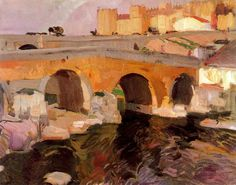 Learn more about The Old Bridge in Avila Joaquin Sorolla y Bastida - oil artwork, painted by one of the most celebrated masters in the history of art. Spanish Painters, Spanish Artists, Claude Monet, Abstract Landscape, Landscape Paintings, Mary Cassatt, Impressionist Paintings, Art Database, Traditional Paintings