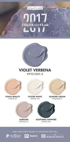 Pair Violet Verbena, the Color of the year with blended peaches, creamy yellows and subdued pinks offer opportunities for a soft, subtle atmosphere grounded with the deepest of blue-greens. Paint Colours 2017, Color 2017, Color Of The Year 2017, Paint Color Palettes, Paint Color Schemes, Interior Paint Colors, Interior Design, Trending Paint Colors, Professional Painters