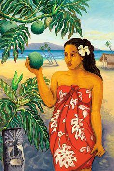 Hawaii - Ulu Offering ~ by Anna Fuernsteiner Polynesian Art, Caribbean Art, Nz Art, Hawaiian Art, Tropical Art, Paul Gauguin, Traditional Paintings, Hawaiian Islands, Beauty Art