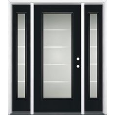 Masonite Crosslines Decorative Glass Right-Hand Inswing Peppercorn Painted Fiberglass Prehung Entry Door with Sidelights and Insulating Core (Common: 64-in x 80-in; Actual: 37.5-in x 81.625-in)