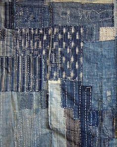 boro patching, can be as small as a postage stamp. (And apparently indigo dye was favoured as it doesn't catch fire? Japanese Patchwork, Japanese Quilts, Japanese Textiles, Japanese Fabric, Shibori, Sashiko Embroidery, Japanese Embroidery, Embroidery Thread, Art Textile