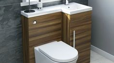 toilet sink combo units: Small Bathroom Style Your Way This Furniture From Walnut Right Handed Unit Back Wall Toilet Sink Combo Units Corner Vanity And Basin Combination Double Set Bathroom Sink Units, Compact Bathroom, Small Bathroom Storage, Bathroom Toilets, Bathroom Layout, Bathroom Interior, Bathroom Furniture, Bathroom Ideas, Bathroom Closet