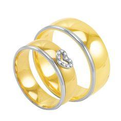 Par de Alianças em Ouro 18K Coração com Diamantes - AU2572   Bruna Tessaro  Joias - brunatessaro 0c0009e713