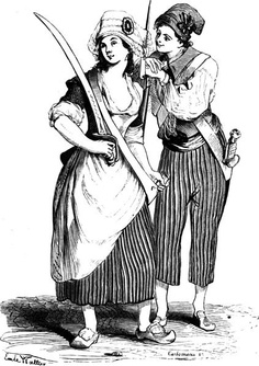 "French cartoon depicting typical dress of the ""sans-culottes."" Sans-culottes were the left wing radicals that consisted of mainly lower class peasants."