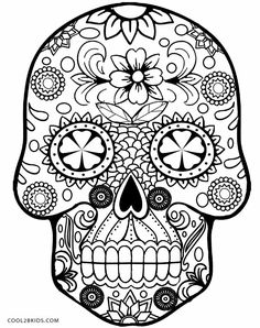 skull coloring pages - Simple Sugar Skull Coloring Pages