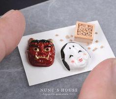 節分 - nunu's house - by tomo tanaka - All The Small Things, Mini Things, Little Things, Miniature Kitchen, Miniature Food, Miniature Dolls, Japanese Festival, Baby Unicorn, Mask Shop