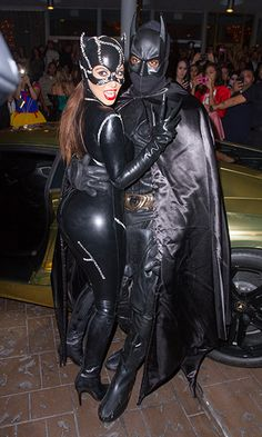 Kim Kardashian and Kanye West as Catwoman and Batman at Kim Kardashian's Halloween party in Miami Beach, Florida.   Billboard