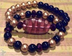 Plum Elegance Beaded Bracelet by RandRsWristCandy on Etsy, $7.00