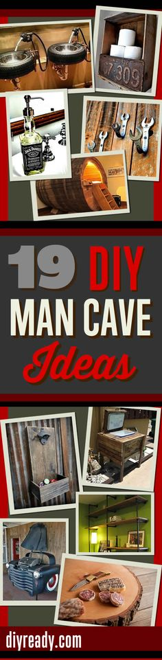 Awesome DIY Man Cave Ideas! Furniture, cool decor and best DIYs for decking out the perfect mancave http://diyready.com/man-cave-ideas-19-diy-decor-and-furniture-projects/