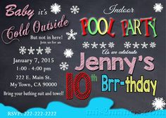 Printable WINTER POOL PARTY Invitation  Winter by M2MPartyDesigns