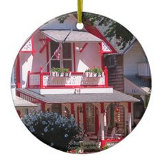 Red and White Campground Cottage-Martha's Vineyard Ceramic Ornament - photo gifts cyo photos personalize