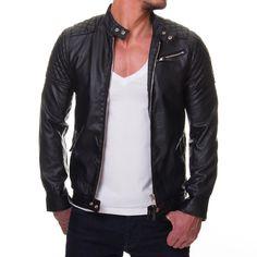 CHAQUETA DE CUERO HOMBRE - Buscar con Google Royal Fashion, Mens Fashion, Men's Leather Jacket, Leather Jackets, Biker, Men's Wardrobe, Sherwani, Winter Outfits, Winter Clothes
