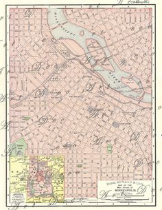 old map of Minneapolis Minnesota from 1895 lovely pastel pink color digital image  no. 667. $4.00, via Etsy.