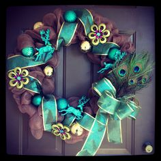 Peacock Christmas Wreath by twonewbeginnings on Etsy, $65.00