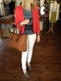 Graphic tee, red blazer, white denim, loafers - casual chic