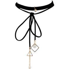 Black Layered Geometry Design Imitation Pearl Pendant Chic Choker... (380 RUB) ❤ liked on Polyvore featuring jewelry, necklaces, choker, multi layer necklace, pendant choker necklace, ribbon necklace, imitation pearl necklace and fake pearl necklace