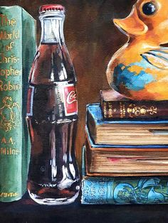 Grace Kotze | The Journey - still life painting detail of a coca-cola bottle and rubber duck available for sale | StateoftheART African Art Paintings, Original Paintings, South African Artists, Art Object, Rubber Duck, Canvas Size, Coca Cola, Still Life, Book Art