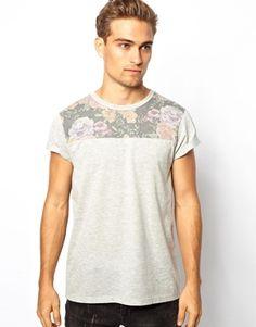 Image 1 ofASOS T-Shirt With Floral Yoke Print