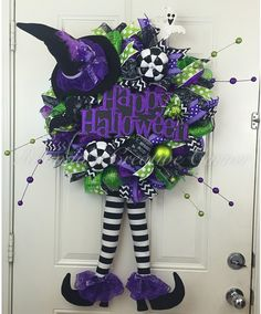 Halloween Deco Mesh Wreath, Witch Deco Mesh Wreath, Wreath with Witch Legs, Wreath with Witch Hat, Halloween Door Decor, Ready to Ship by RhondasCre8iveCorner on Etsy