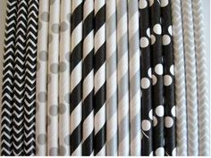 Black and Metallic Silver Stripe, Dot and Chevron Paper Straw Mix - Stripe, Dot & Chevron Paper Straw | 25 CT