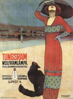 oil painting, graphics, poster art, art nouveau The Hungarian artist and illustrator Geza Farago worked in Budapest as a cartoonist, theat. Art And Illustration, Illustrations, Vintage Advertisements, Vintage Ads, Vintage Posters, Vintage Designs, Art Nouveau, Animal Gato, Retro Poster