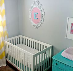 Project Nursery - Yellow, PInk, and Turquoise Girl Nursery Crib View