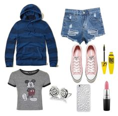 """""""OOTD"""" by unicornsanddolls ❤ liked on Polyvore featuring Hollister Co., Converse, Felony Case, Topshop, Maybelline, MAC Cosmetics, Chamilia, women's clothing, women's fashion and women"""