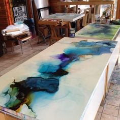 Photos only for inspiration Epoxy resin countertops diy art encaustic modernist photoshots best 25 countertop ideas diy kitchen and dyi 12 Pintura Graffiti, Resin Countertops, Kitchen Countertops, Kitchen Island, Encaustic Art, Wow Art, Art Abstrait, Resin Art, Art Techniques
