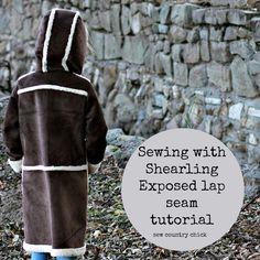 Sewing shearling. Exposed lap seam tutorial