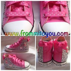 Hello Kitty theme custom junkchucks by From Mi To You. Pink polka dot ribbon laces with a pink bow. www.mimicutelips.com Tenis Converse, Baby Converse, Custom Converse, Hello Kitty Themes, Pink Polka Dots, All Star, Converse Chuck Taylor, Sporty, Sneakers