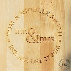 Laser engraving. Cutting Board. Laser engraved gifts. Wedding gift idea