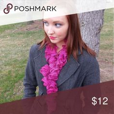 Ruffled Knit Scarf Beautiful handmade Ruffled Knit Scarf, warm and stylish. Pink Topaz!  More colors available in my store, check out the rest of my homemade items that make the perfect gifts, in the link below: http://etsy.me/2gQFZ01 Kami's Kloset Accessories Scarves & Wraps