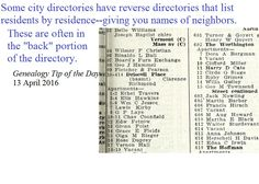Reverse Directories | Genealogy Tip of the Day