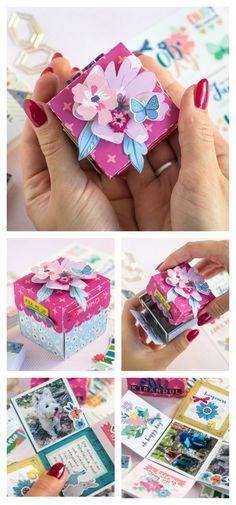DIY exploding box mini album made with Pink Paislee - Paige Evans Whimsical Paper Pad. Mini Scrapbook Albums, Scrapbook Cards, Mini Albums, Scrapbooking, Diy Exploding Box, Mini Album Tutorial, Paper Crafts, Diy Crafts, Diy Box
