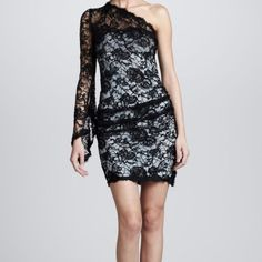 Emilio Pucci One-Shoulder Lace Dress Black lace, light blue underlay. Worn once for a NYE party and is now too small! In excellent condition, aside from inner tag (in picture 3) is slightly detached. Make me an offer! Emilio Pucci Dresses Mini