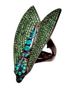 Loree Rodkin Tsavorite and Paraiba Tourmaline Leaf ring