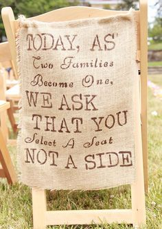 We love this burlap 'sign' letting your guests know where to sit! #rusticweddings #weddingdecor