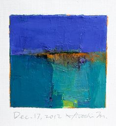 Reserved listing - Dec. 17, 2012 - Original Abstract Oil Painting - 9x9 painting (9 x 9 cm - app. 4 x 4 inch) with 8 x 10 inch mat. $60.00, via Etsy.