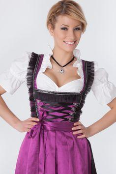 Violette, lange Tracht mit schwarzen Fransenborten, 3-tlg. - Dirndl.com
