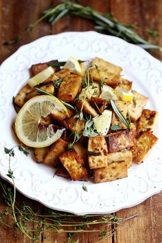 Lemon Herb Baked Tofu