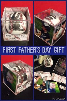 First Father's Day Gift Idea - handprint on baseball in case with pictures {RachelKimberlyPhotography}