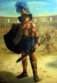 Gladiators dueling in the Colosseum Ancient Romans, Ancient Art, Ancient History, Gladiator Tattoo, Gods Of The Arena, Roman Gladiators, Marshal Arts, Great Warriors, Roman Legion